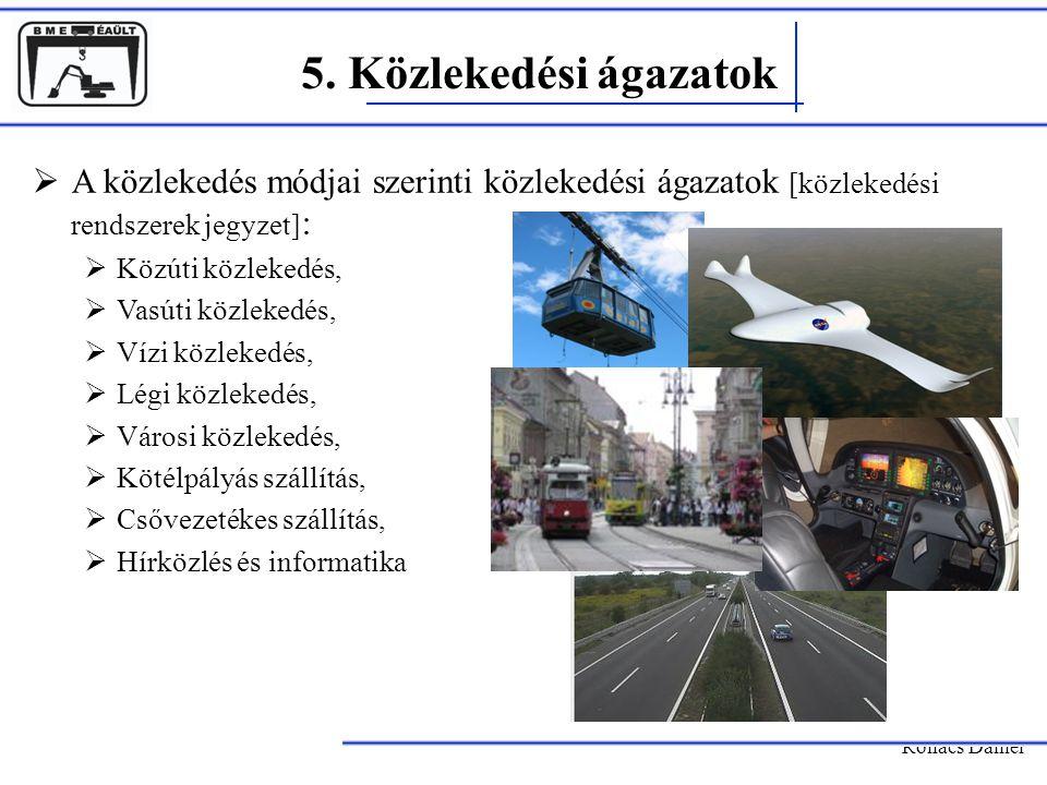 5. Közlekedési ágazatok A közlekedés módjai szerinti közlekedési ágazatok [közlekedési rendszerek jegyzet]: